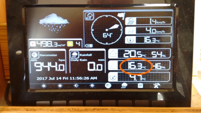 This photo of our weather monitor was taken at the same time. The outside air temperature is circled.