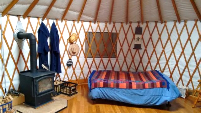 Inside Kevin and Tina's lovely yurt