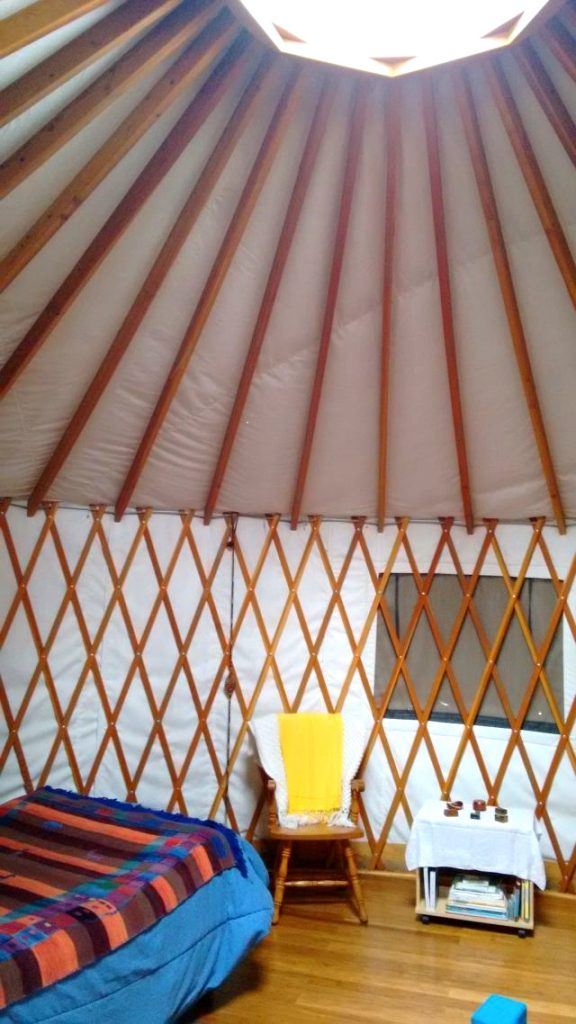 The entire structure of a yurt is made up of small pieces of wood cleverly attached with steel fasteners and wire
