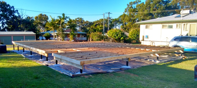 Photo taken this afternoon of the floor framing completed.