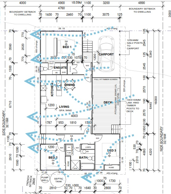 Floor plan showing how the house is designed to make the most of the summer sea breezes.