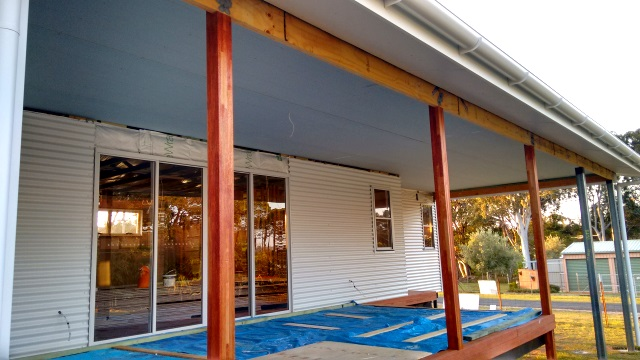Water-resistant gyprock installed on the ceiling of the deck and carport area.