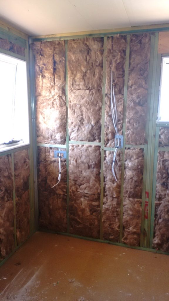 Insulation in place before gyprock is hung.