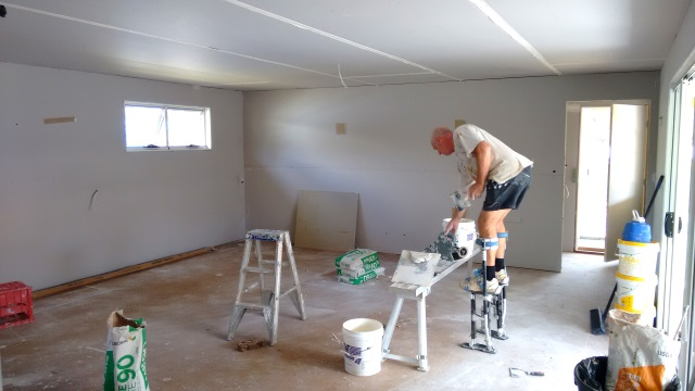 Gyprock hung and plasterers hard at work.