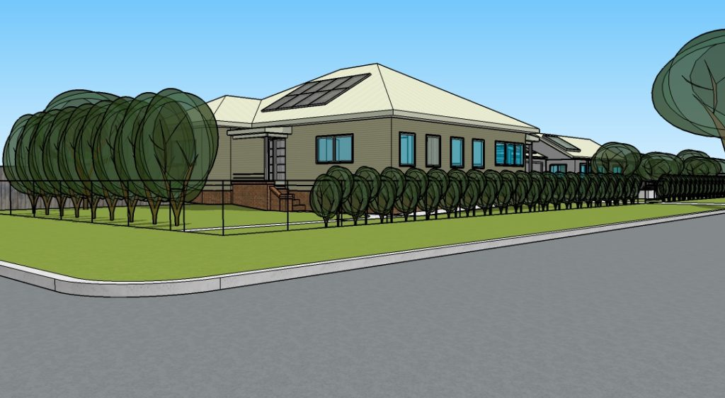 Computer rendering of the completed house showing solar panels on the East roof.