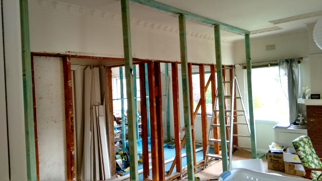 The current view from our living room through to where the new kitchen will be.