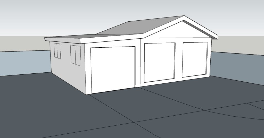 3D model of the existing garage