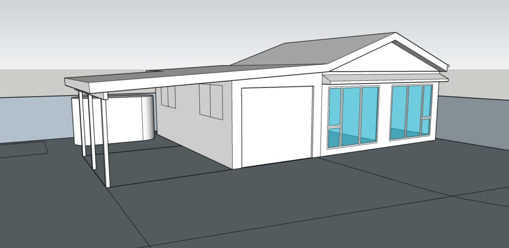 The garage converted to a  north-facing granny flat