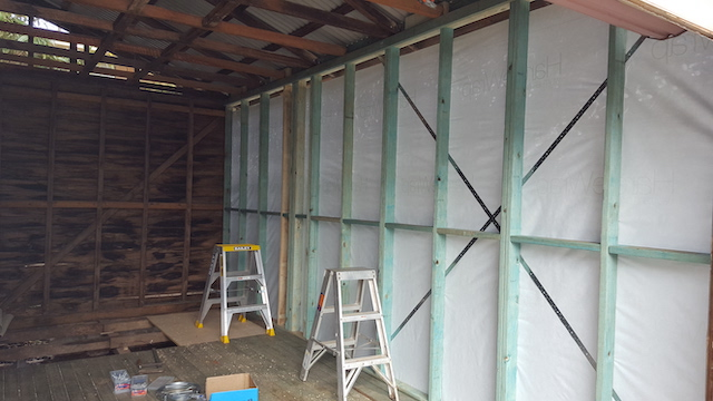 The new west wall ready to be fire-rated.