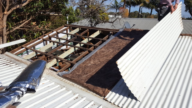 """While the weather was fine we took the roof sheets off and installed """"anticon' insulated roof blanket before putting the sheets back on."""