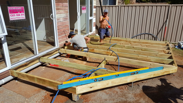Building the deck framing.